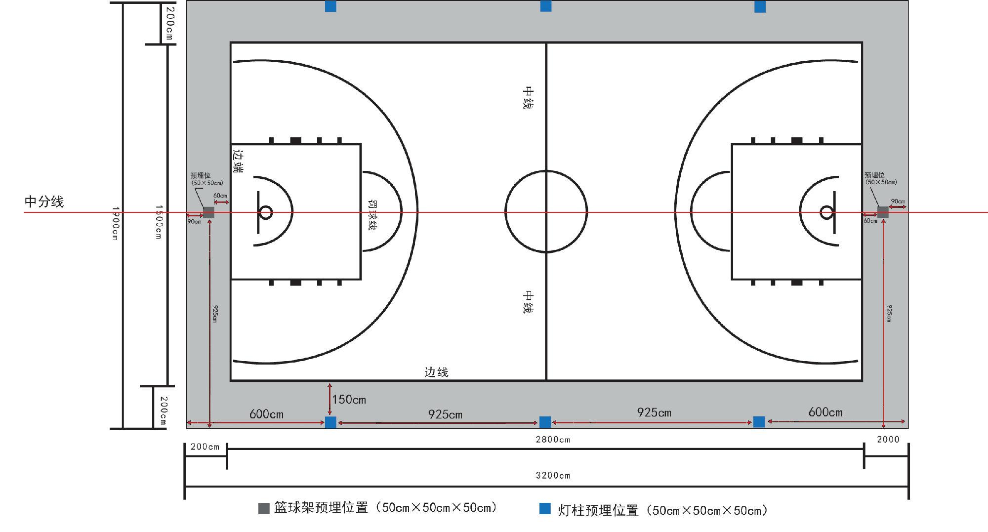 篮球场建设设备安装尺寸图